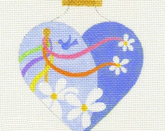 May Pole Heart Needlepoint Ornament - Jody Designs   H5