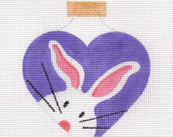 The White Bunny Heart Needlepoint Ornament - Jody Designs - WB2 Purple