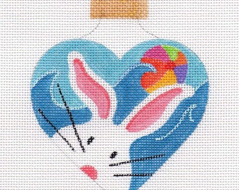 The White Bunny Beach Needlepoint Ornament - Jody Designs - WB4
