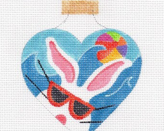 The White Bunny Beach with Glasses Needlepoint Ornament - Jody Designs WB4-G