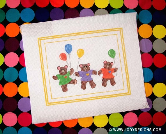 Teddy Bears Three Needlepoint - Jody Designs