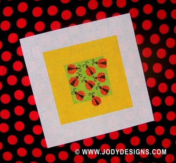 Ladybugs Needlepoint  7 x7  Square - Jody Designs  SB6