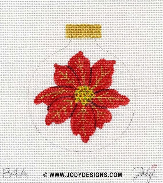 Red Poinsettia Needlepoint Ornament - Jody Designs B4A