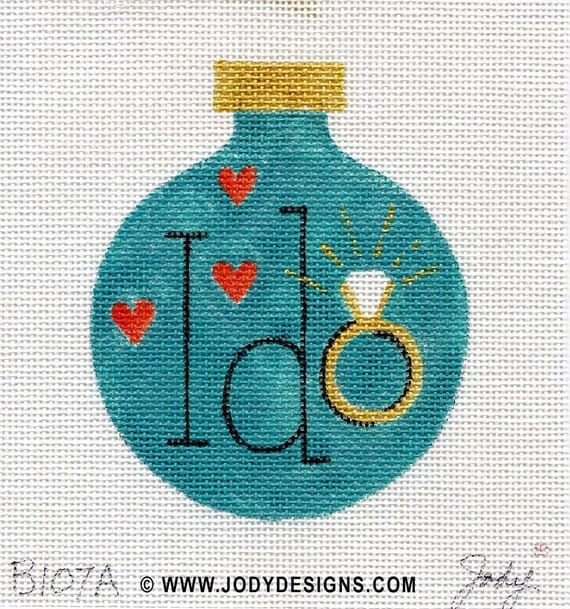 Engagement Ring Needlepoint Ornament - Jody Designs  B107A  I Do /turquoise