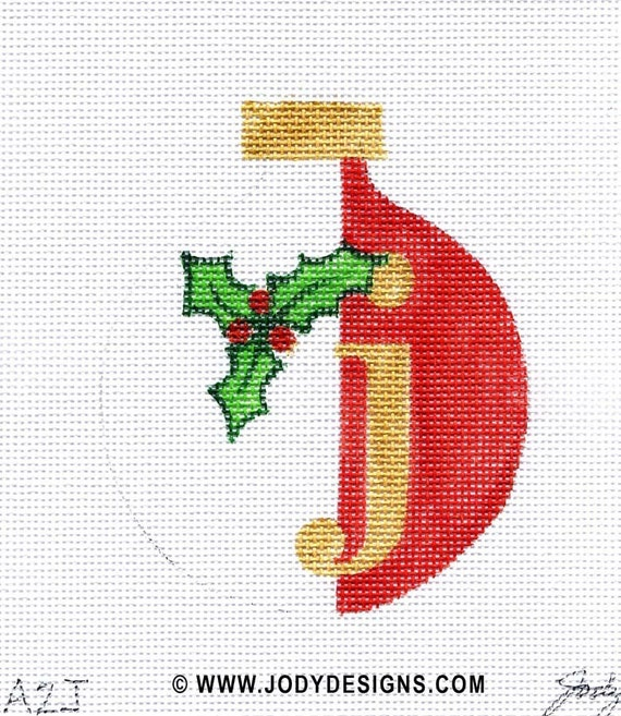 Christmas Alphabet Letter Needlepoint Ornament - Jody Designs    All letters available
