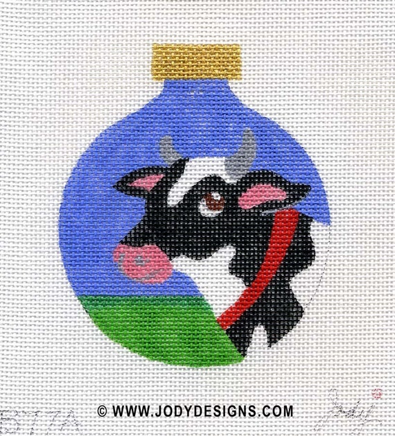 Cow Needlepoint Ornament - daytime - Jody Designs B77A