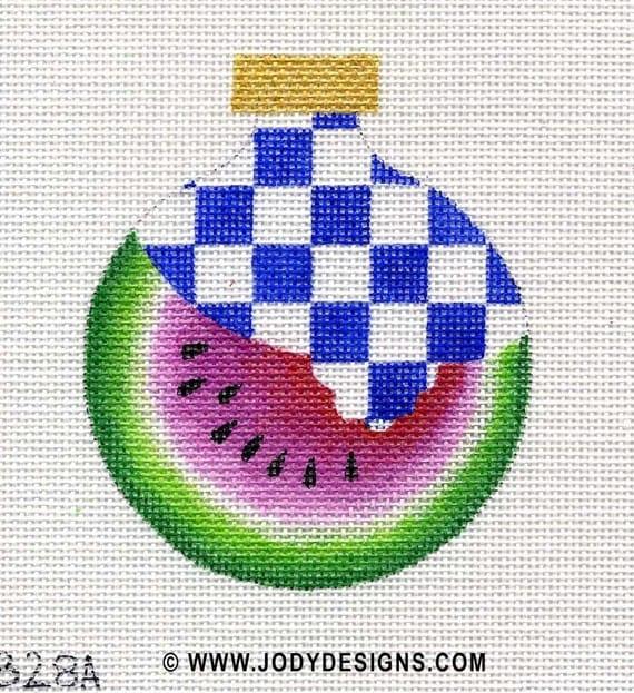 Watermelon with Checks Needlepoint Ornament  - Jody Designs    B28A