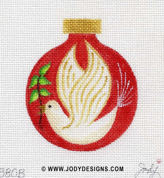 Peace Dove Needlepoint Ornament - Red - Jody Designs      B80B