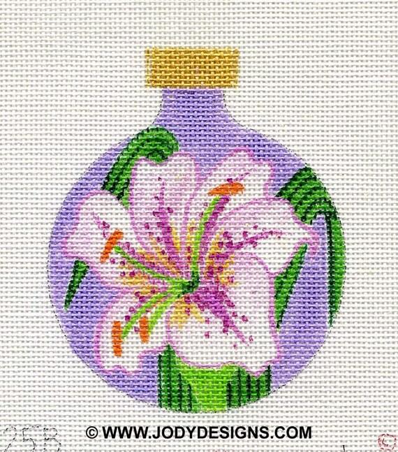 Pink Lily purple background Needlepoint Ornament - Jody Designs  B25B