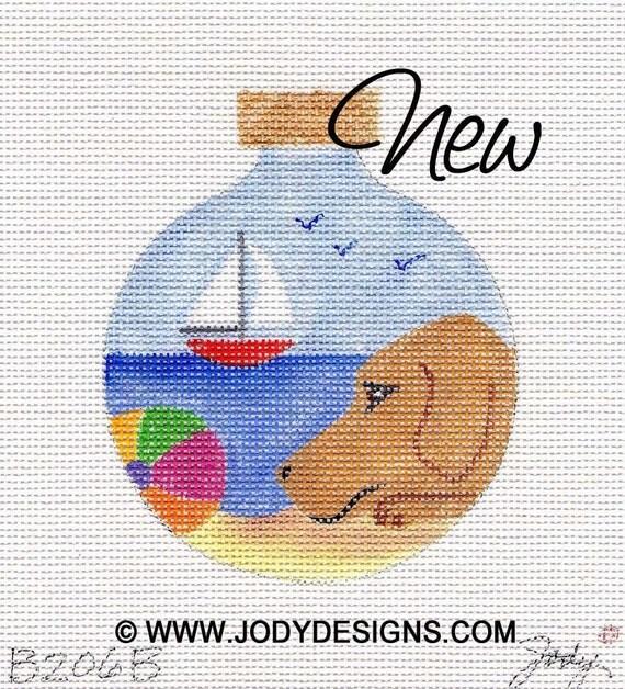 Jody Designs Needlepoint Ornament      B206B  Cooper at the Beach