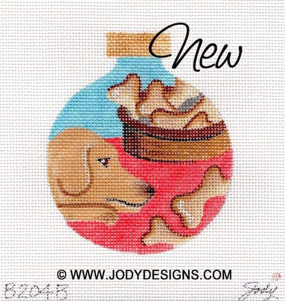 Jody Designs Needlepoint Ornament      B204B  Cooper dog bones