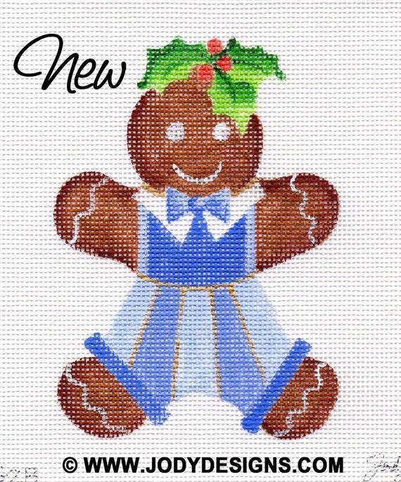 Gingerbread Boy Blue Needlepoint Ornament   G2B  Jody Designs