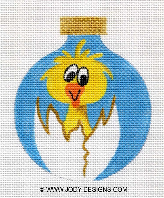 Chicken and Cracked Egg Needlepoint Ornament  - Jody Designs  B17