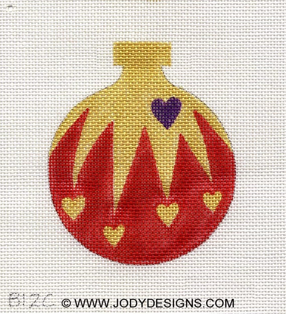 Cascading Hearts Gold Needlepoint Ornament - Jody Designs  B12C