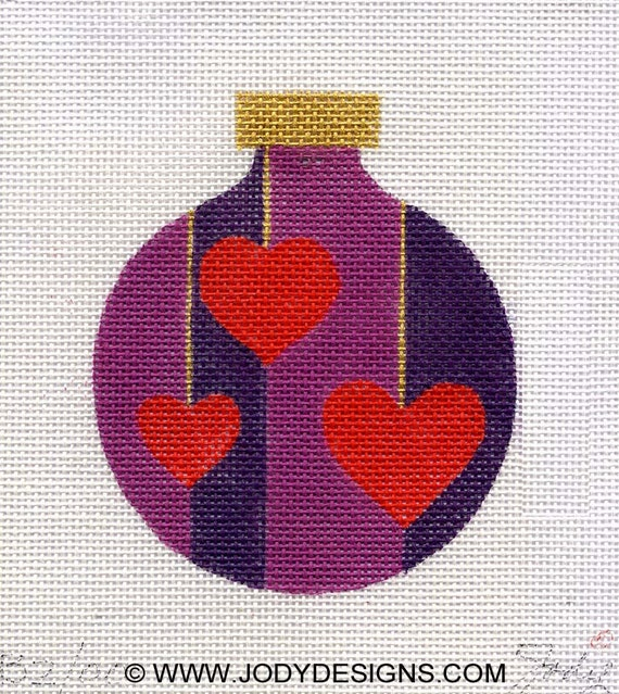 Red Hearts Three Needlepoint Ornament - Jody Designs   B2-00
