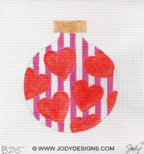 Red Hearts Pink Stripes Needlepoint Ornament - Jody Designs  B215