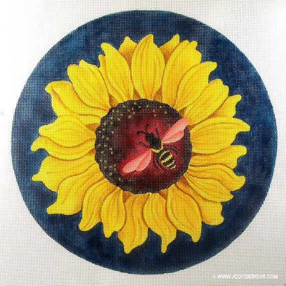 Sunflower with Bee Needlepoint 12 inch Round - Jody Designs