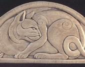 Handmade relief carved ceramic cat art tile