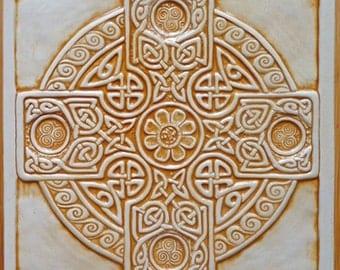 Relief carved Celtic cross ceramic tile