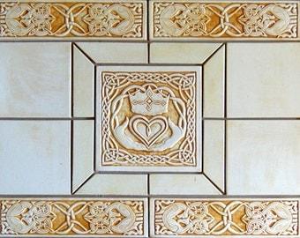 Decorative Celtic Claddagh handmade tile set