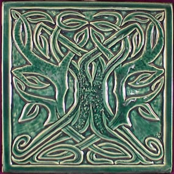 Decorative Relief Carved Celtic Tree Ceramic Art Tile
