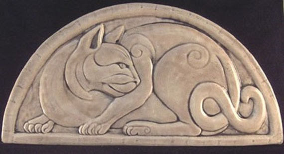 Handmade relief carved ceramic cat art tile