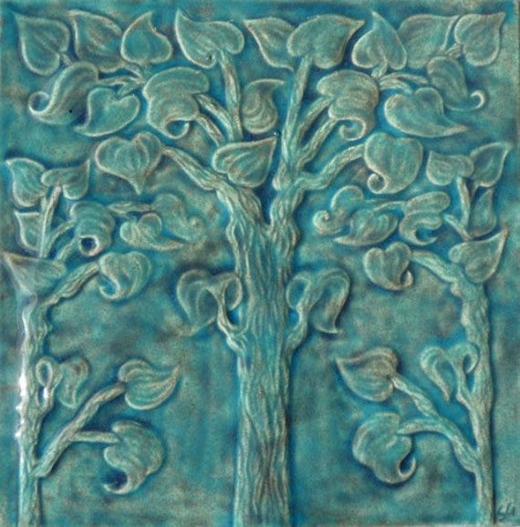Relief Carved Ceramic Tree Of Life Tile