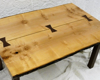 Wood Coffee Table - Live Edge Natural Barked Edge Maple and Walnut
