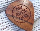 You Rock Dad - Handmade Laser Engraved Exotic Wood Guitar Pick - Amazon Rosewood