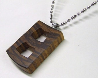 Wooden Pendant - Premium Quality - Handmade with Exotic African Zebra Wood - Comes with Steel Ball & Bar Chain - Artisan Wooden Jewelry