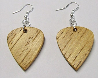 Guitar Pick Shaped Wooden Earrings - Premium Quality - Handmade with Exotic African Lati Wood - Artisan Wooden Jewelry