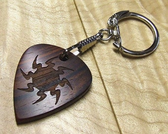 Cocobolo Rosewood Key Chain - Large sized Handmade Guitar Pick Shaped Wooden Key Ring