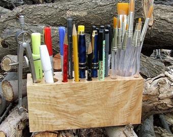Handmade Maple Wood Desktop Organizing Caddie for Crafts,Cosmetics, Artists, Etc.