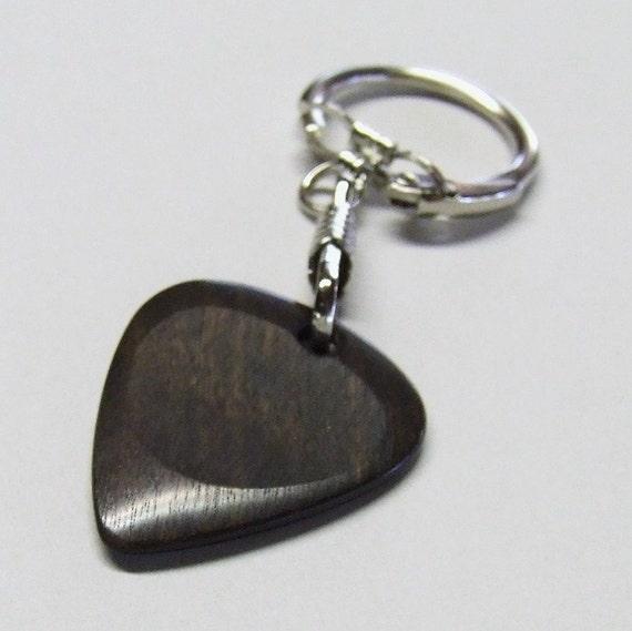 Wood Guitar Pick Key Chain - Handmade ExoticTexas Ebony Guitar Pick Keychain
