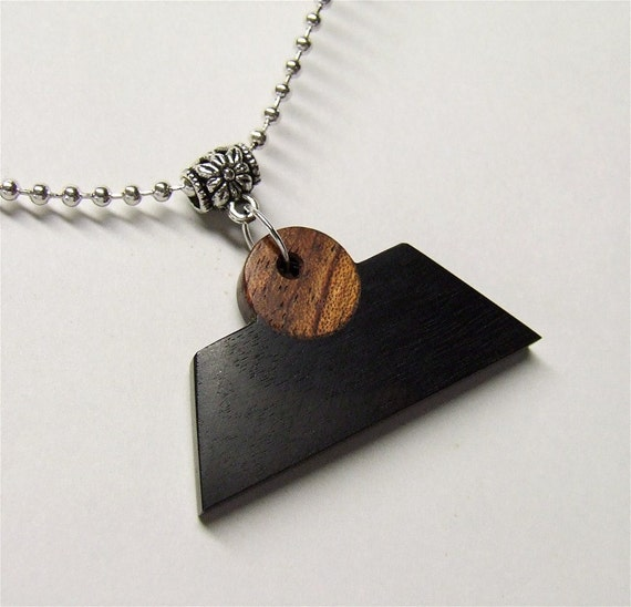 Texas Ebony and Bubinga Handcrafted Exotic Wood Pendant Silver Plated Ball Chain Necklace