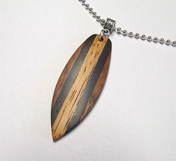 Wood Mini Pendant ~ Custom wood necklace handmade mini surfboard shaped exotic