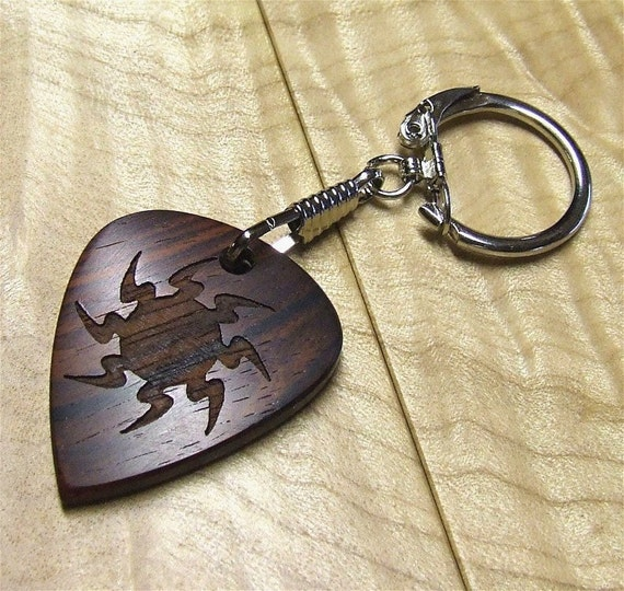 Guitar Pick Shaped Wooden Key Chain-Key Ring - Premium Quality - Handmade with Cocobolo Rosewood - Large Sized - Laser Engraved Both Sides