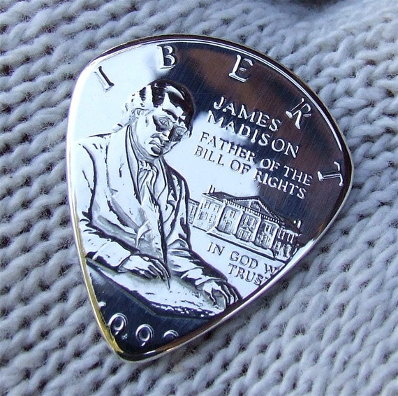 Custom Coin Guitar Pick - Handmade with a 1993 James Madison Silver Half Dollar Proof