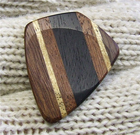 Custom Wood Guitar Pick - Handmade Exotic Gabon Ebony - Santos Mahogany - Avodire and Chechen Premium Guitar Pick
