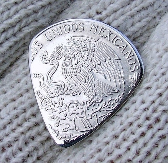 Handmade Coin Guitar Pick - Custom Coin Pick made with a Vintage Un-circulated 1981 Mexican Peso