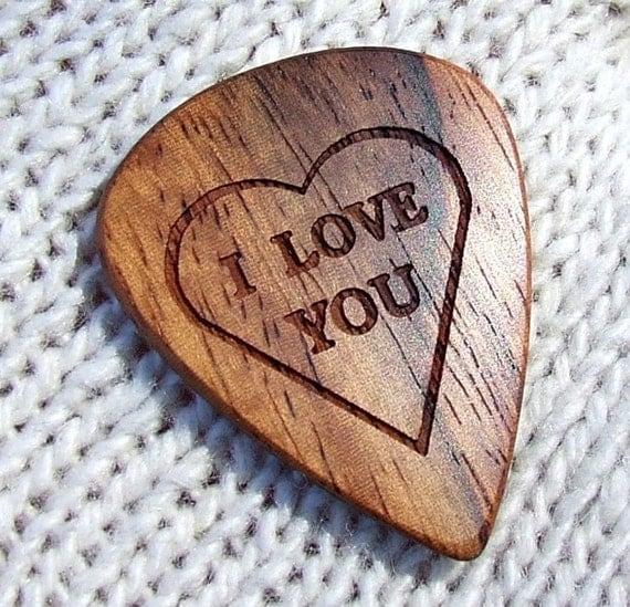 Wood Guitar Pick - Handmade Custom Engraved Exotic Wood Guitar Pick - Amazon Rosewood