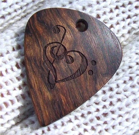 Wood Guitar Pick - Handmade Custom Engraved Exotic Wood Guitar Pick - Caribbean Rosewood