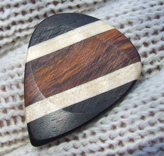 Custom Wood Guitar Pick - Handmade Exotic Arizona Desert Ironwood - Curly Maple and Gabon Ebony Premium Guitar Pick