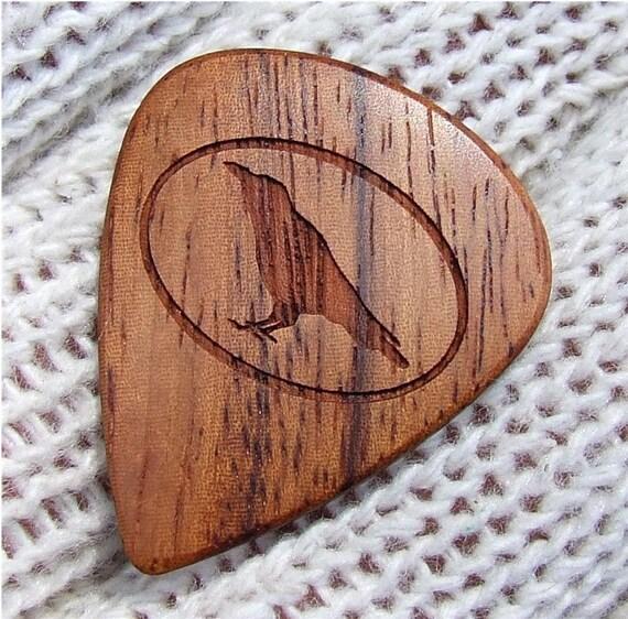 The Raven Guitar Pick - Handmade Custom Engraved Exotic Wood Guitar Pick - Amazon Rosewood