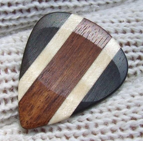 Custom Wood Guitar Pick - Handmade Exotic Mexican Granadillo - Curly Maple and Gabon Ebony Premium Guitar Pick