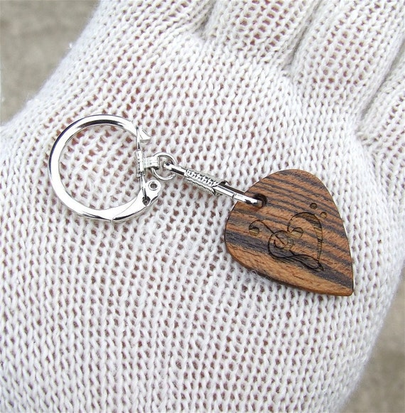 Exotic Wood Key Chain - Handmade Guitar Pick Shaped with Laser Engraving - Bocote