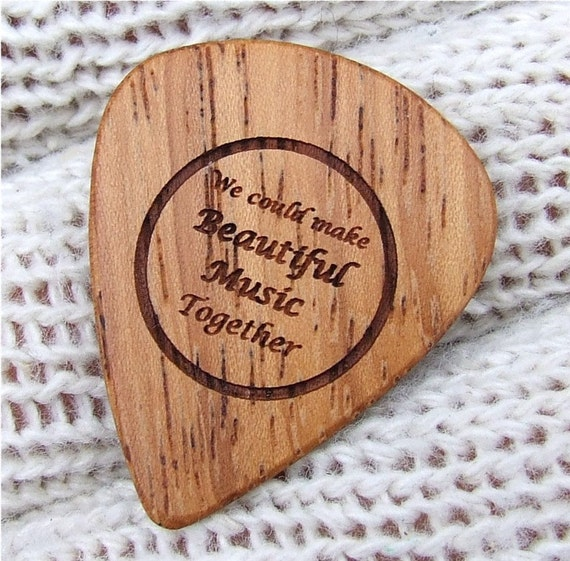 Handmade Laser Engraved Exotic Wood Guitar Pick - African Doussie