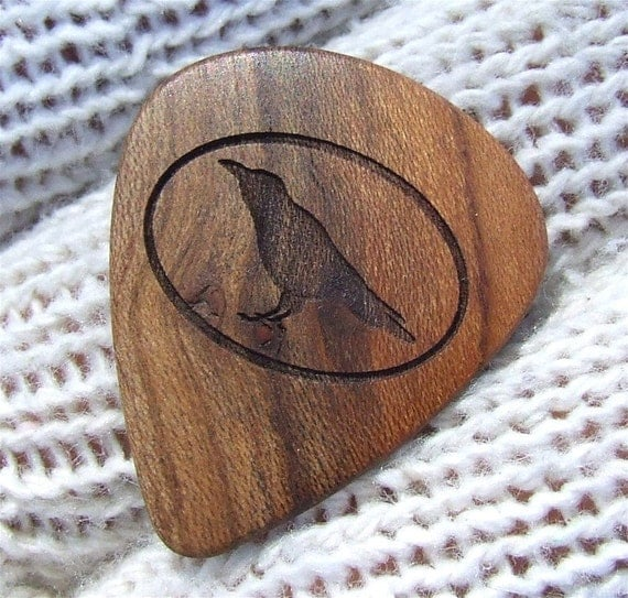 Wood Guitar Pick - Handmade Custom Engraved Exotic Wood Guitar Pick - Apricot Wood