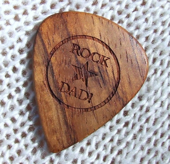 Wood Guitar Pick - Rock Star Dad - Handmade Custom Engraved Exotic Wood Guitar Pick - Amazon Rosewood