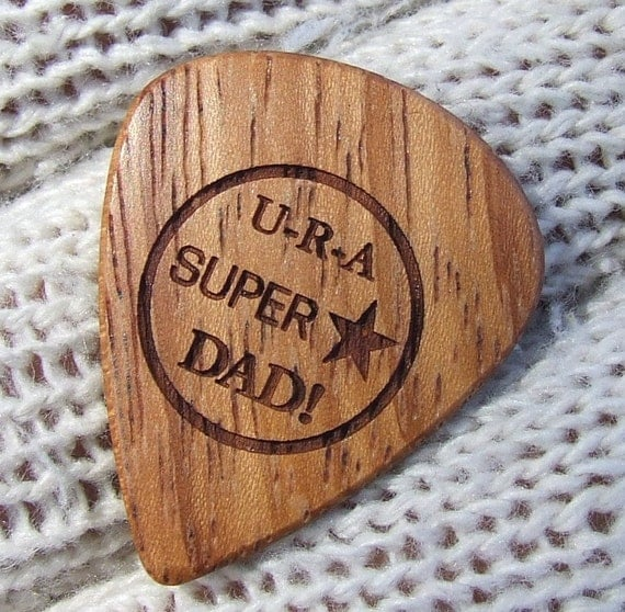 Super Star Dad - Handmade Laser Engraved Premium Exotic Wood Guitar Pick - Doussie Wood